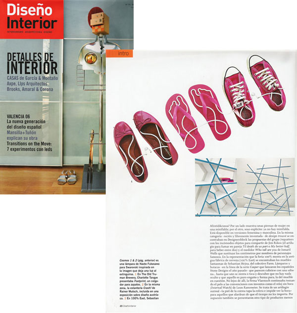 Footprint shoe rack in Diseno Interior magazine